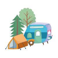 desenho animado camping barraca trailer floresta árvores verde vetor