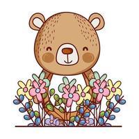 animais fofos, pequeno urso flores folhas folhagem desenho animado vetor