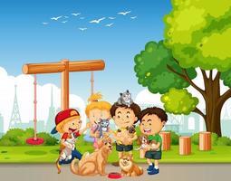 grupo de animal de estimação com dono na cena do playground vetor