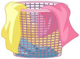 cesto de roupa suja com roupa em fundo branco vetor