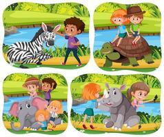 crianças felizes com animais no fundo da natureza vetor