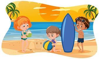 crianças felizes na praia vetor