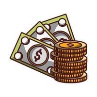 notas de dinheiro moedas ícone isolado desenho sombra vetor