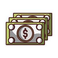 dinheiro, notas, dinheiro, moeda, ícone, isolado, desenho, sombra