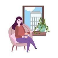 restaurante distanciamento social, mulher com xícara de café olhando para a janela, prevenção covid 19 coronavirus vetor
