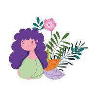feliz dia das mães, mulher flores deixa decoração natureza isolada design vetor