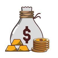 Dinheiro negócio dinheiro saco moedas e barras de ouro ícone isolado desenho sombra vetor