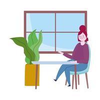 restaurante distanciamento social, mulher sentada sozinha à mesa, mantendo distância para o risco de infecção, surto de doença, cobiçado 19 vetor