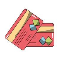 dinheiro negócio financeiro cartões bancários ícone de crédito isolado sombra de projeto vetor