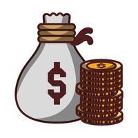 saco de dinheiro pilha de moedas ícone isolado desenho sombra vetor