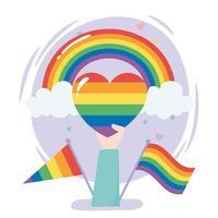 comunidade LGBTQ, mão com arco-íris sinalizadores de coração protesto por discriminação sexual na parada gay vetor
