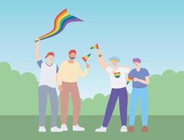 LGBTQ relações homossexuais uma comunidade diversa, desfile gay protesto contra discriminação sexual
