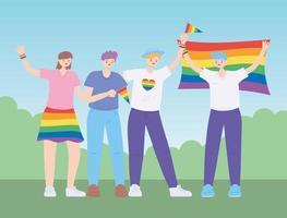 comunidade LGBTQ, pessoas se abraçam segurando uma bandeira do arco-íris, desfile gay de protesto contra discriminação sexual vetor