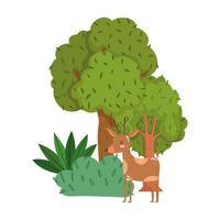 animais fofos rena grama árvore folhagem natureza selvagem desenho animado vetor