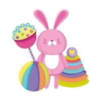 objetos de brinquedos para crianças pequenas brincarem bola de chocalho de coelho rosa de desenho animado e pirâmide vetor