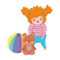 objeto de brinquedos para crianças pequenas brincarem de desenho animado, menina com urso e bola vetor