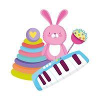 objetos de brinquedos para crianças pequenas brincarem de coelho e piano de pirâmide de desenho animado vetor