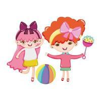 objetos de brinquedos para crianças pequenas brincarem de desenho animado, garotinhas fofas com chocalho e bola vetor