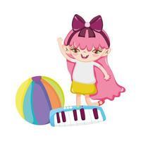 objetos de brinquedos para crianças pequenas brincarem de desenho animado, menina com bola e piano vetor