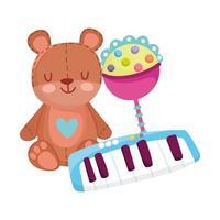 objetos de brinquedos para crianças pequenas brincarem de desenho animado, chocalho de ursinho de pelúcia e teclado de piano vetor