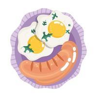 comida jantar menu desenho animado fresco ovos fritos e salsichas no prato vetor