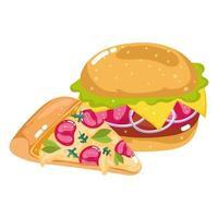 pizza e hambúrguer fast food vetor