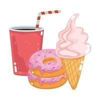 refrigerante de fast food donut e sorvete vetor
