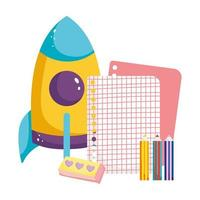 volta às aulas, lápis de cor com borracha de papel quadriculado e desenho animado do ensino fundamental de foguete