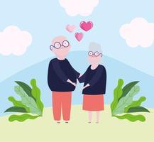 casal de avós fofos com coração e fita amam o design romântico dos desenhos animados vetor