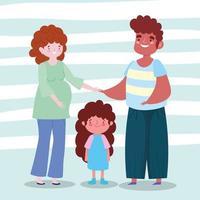 família mulher grávida pai e filha juntos personagem de desenho animado vetor