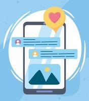 smartphone batendo papo romântico rede social comunicação e tecnologias vetor