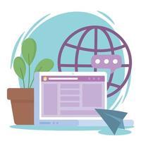 laptop mundo conteúdo web criatividade rede social comunicação e tecnologias vetor