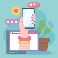 mão feminina com smartphone no laptop como siga tecnologias e comunicação de rede social vetor