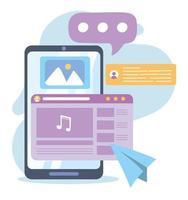 smartphone com música nota bate-papo com fotos comunicação e tecnologias de rede social vetor