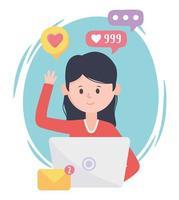 mulher usando laptop e-mail como follow redes sociais de comunicação e tecnologias vetor