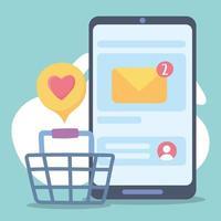 smartphone compras online email rede social comunicação e tecnologias vetor