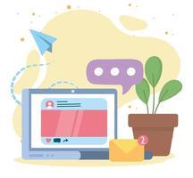 laptop e-mail bolha de discurso rede social comunicação e tecnologias vetor