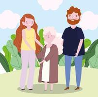 personagem de desenho animado da avó da família com os pais juntos vetor