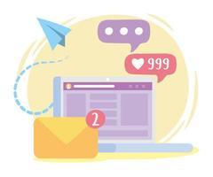 mensagem de e-mail de laptop seguir comunicação e tecnologias de rede social vetor