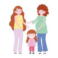 família mulher grávida mãe e filha juntos personagem de desenho animado de geração vetor