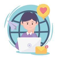 homem com tecnologia e comunicação de rede social mundial conectada vetor