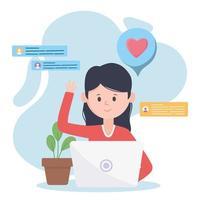 mulher sentada no laptop e usando tecnologias e comunicação da rede social do site vetor