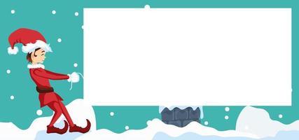 design de cartão de feliz natal com duende puxando cartão em branco vetor