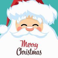 design de cartão de feliz natal com cara de papai noel vetor