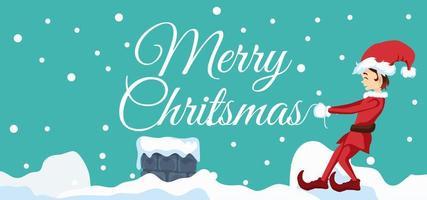 desenho de elfo com letras de feliz natal vetor