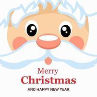 design de cartão de natal com cara de papai noel vetor