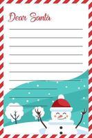 desenho de carta para o papai noel com boneco de neve de natal vetor