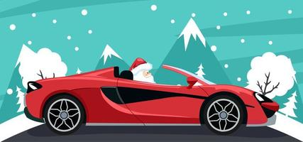 desenho de plano de fundo do papai noel em carro luxuoso vetor