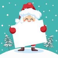 desenho do papai noel com pôster para cartão de natal vetor