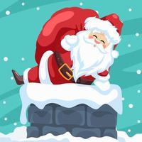 design de cartão de feliz natal do papai noel entrando pela chaminé vetor
